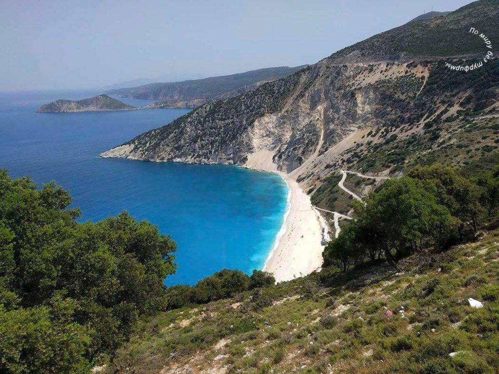 cefalinia_myrtos_beach кефалония путеводитель пляж миртос греция путеводитель