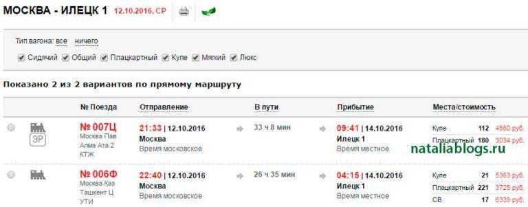 Время в пути на поезде оренбург москва