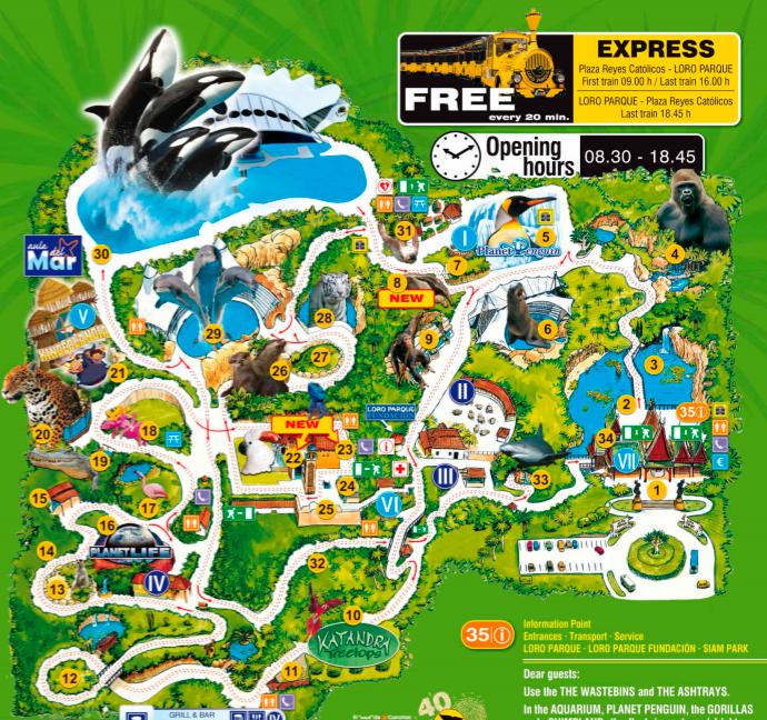 Лоро парк Тенерифе с детьми отзывы, Лоро парк официальный сайт, Лоро парк билеты, развлечения на Тенерифе? Карта Лоро-парка. Тенерифе. Канарские острова.