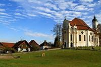 Бавария Мюнхен Германия достопримечательности, церковь Вис Wwieskirche Бавария, паломническая церковь в Висе, церковь Визкирхе Бавария, церковь на лугу Бавария, природные достопримечательности Баварии