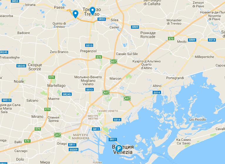 аэропорт Венеции Тревизо на карте Италии