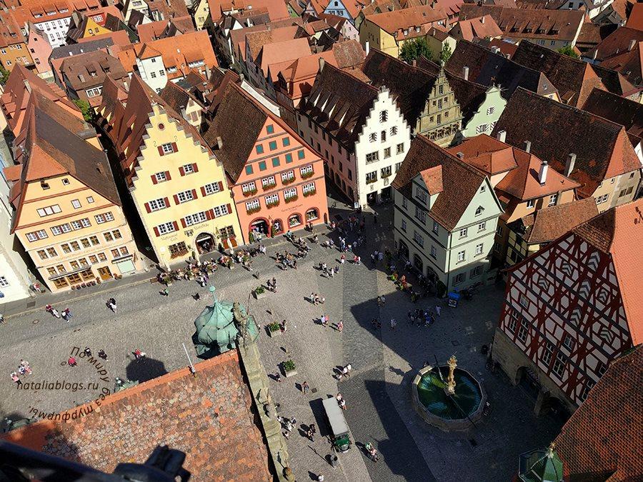 г. Ротенбур-на-Таубере. Германия. Вид сверху на Рыночную площадь