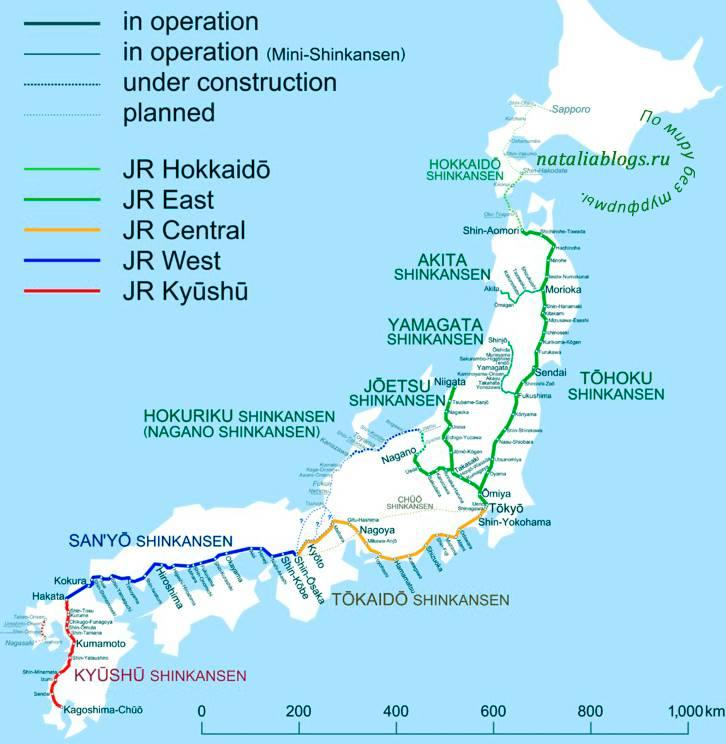 Спланировать маршрут поездки на скоростных поездах в Японии. Карта