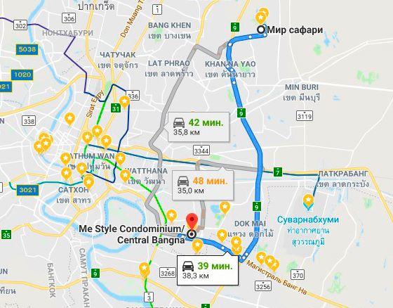 Сафари парк Бангкок на карте (как добраться)