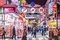 Вещевой рынокАмэёко в Токио