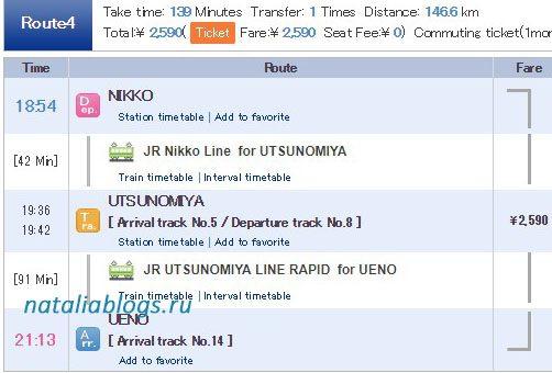 Билет на поезд Никко-Токио на вечер