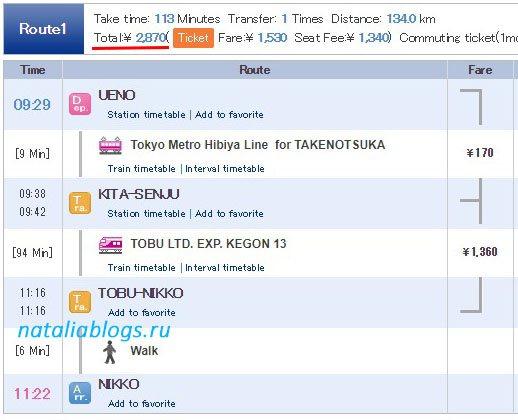 Без проездного JR Pass заплатите за проезд 2870 ¥ в одну сторону