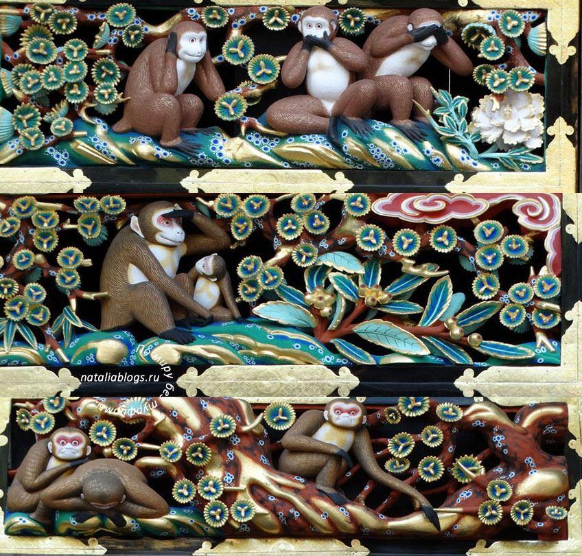 """Известные """"Три обезьяны Никко"""" и другие фрески на конюшне в храмовом комплексе"""